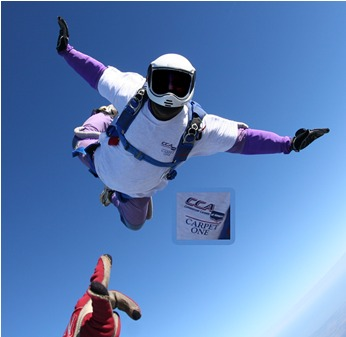 Chris Moline of the Carpet One Team at 13,500 feet and 140 mph.