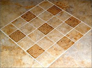 Closeup showing Courtney's design work with custom tile.