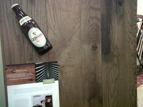 wood flooring made from casks at the Guinness brewery - reclaimed wood